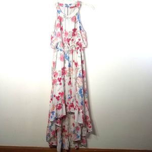 Elle halter floral print high low dress size M